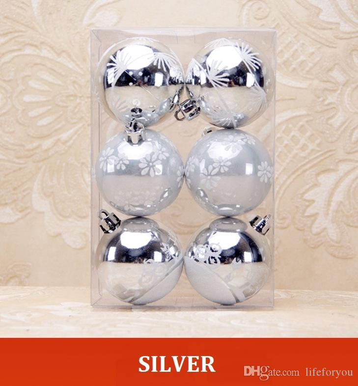 6-Paced 6cm/ 2.36inch printing balls for christmas ornaments outdoor christmas decorations christmas party balls hanging props