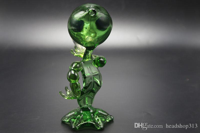 Hot Selling MINI Alien Glass Smoking Pipe Glass Water Pipes Green G Spot Smoking Pipes Alien Glass Bong Water