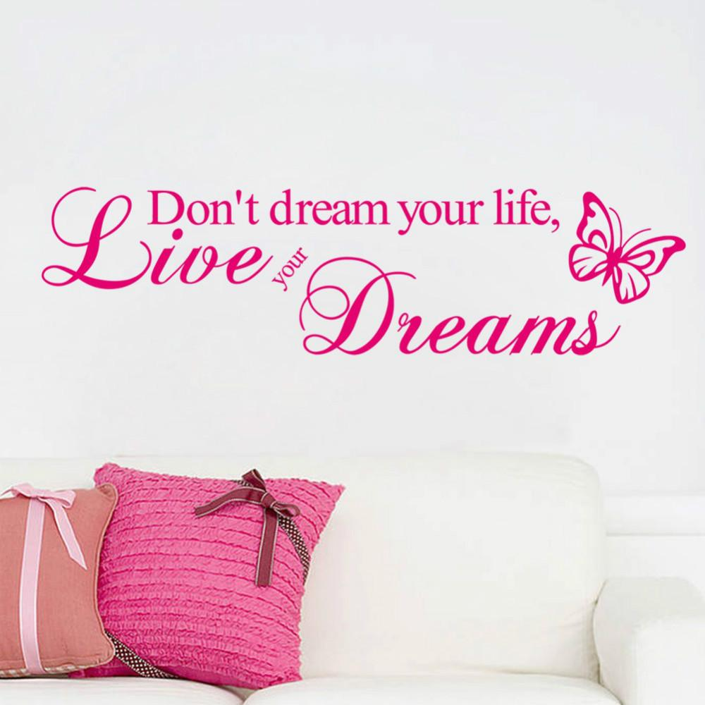Live Your Life Quotes Don't Dream Your Life Live Your Dreams Vinyl Quote Wall Stickers