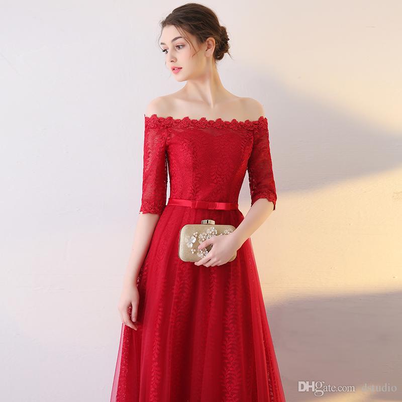 Zarif Kırmızı Akşam Elbise Yumuşak Tül Çiçek Dantel Yarım Kollu Kat Uzunluk Örgün Önlük Lace up Geri Balo Elbise Ucuz