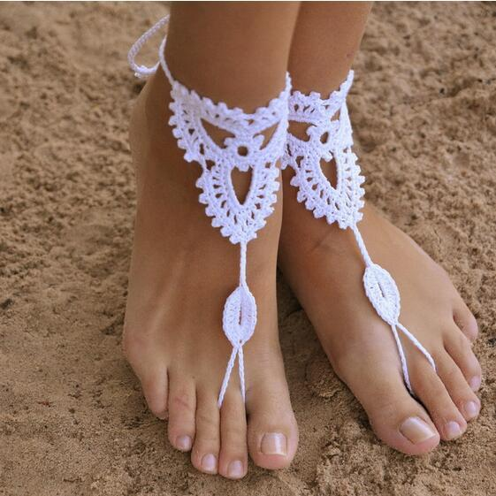 beb7a15ce23 Crochet Barefoot Sandals Beach Wedding Bridal Anklet Foot Jewelry Bracelet  Manual Knitting Cotton Anklets Beach Foot Ornaments Accessories For Brides  ...