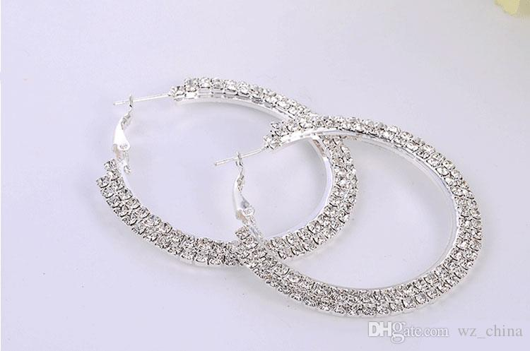 Silver Plating Hoop Earrings Silver Color Czech Diamond Big Hoop Earrings Ball Wives Earrings Good Quality Fashion Jewelry For Women