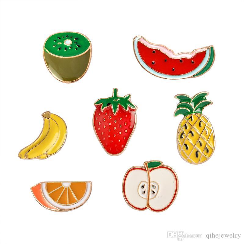 Frutta Brooch Badge Badge Anguria Kiwi Fragola Arancione Banana Apple Pineapple Estate Summer Gioielli simpatici