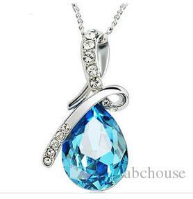Newest Austria Crystal Necklaces Jewelry Fashion Women Crystal Pendant necklace Jewelry Fit 925 Silver Necklace Pendant 10pcs Free Shipping