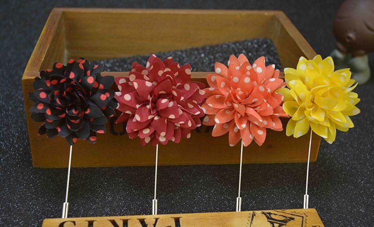 Flower Brooch Stripes Spots Boutonniere Stick Brooch Pin Accessories for Men Women Suit Men Lapel Pin Brooches
