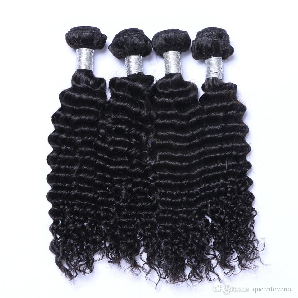 8A Brazilian Deep Wave Curly Hair 3 Bundles with Closure Free Middle 3 Part Double Weft Human Hair Extensions Dyeable Human Hair Weave
