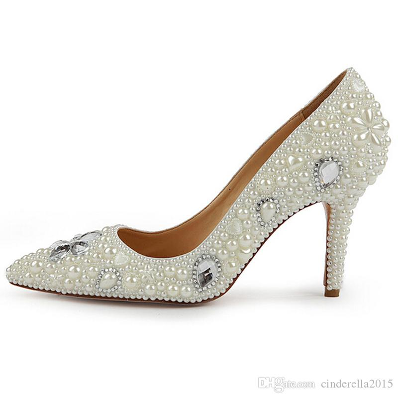 """Office Lady High Heel Shoes Pointed Toe 3 """" Heel Wedding Shoes Lady Pumps Handmade Ivory Pearl Bride Bridesmaid Evening Shoes"""