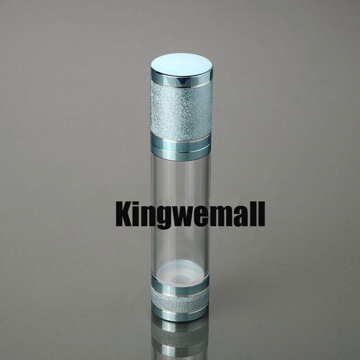 100 unids / lote 50 ML de alto grado de color azul sin aire botella de loción de plástico Envase cosmético F001