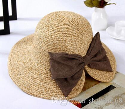 Womens Floppy Summer Sun Beach Straw Bucket Hat Fedora Foldable Church Wide Brim Hat 56-58cm