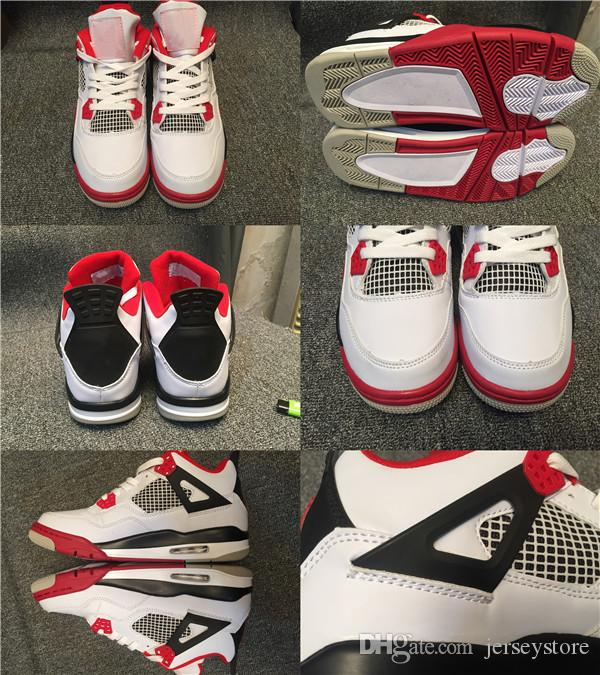 with box new 4 men basketball shoes 4s white cement toro