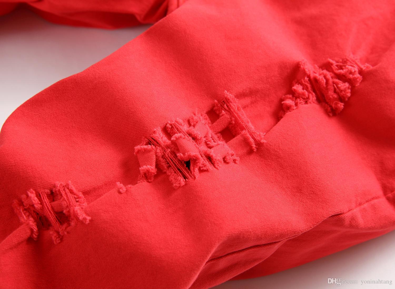 Hombres pantalones vaqueros flacos de la marca de moda de mezclilla roja Pantalones coloridos pantalones de harem de hombre casual hip hop ripped jeans pantalones de algodón hombre