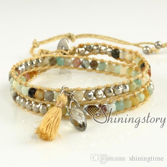 Bracelet wrap triple bracelet wrap perles de bijoux faits à la main Boho perles bracelets cordons Mocuba bracelet