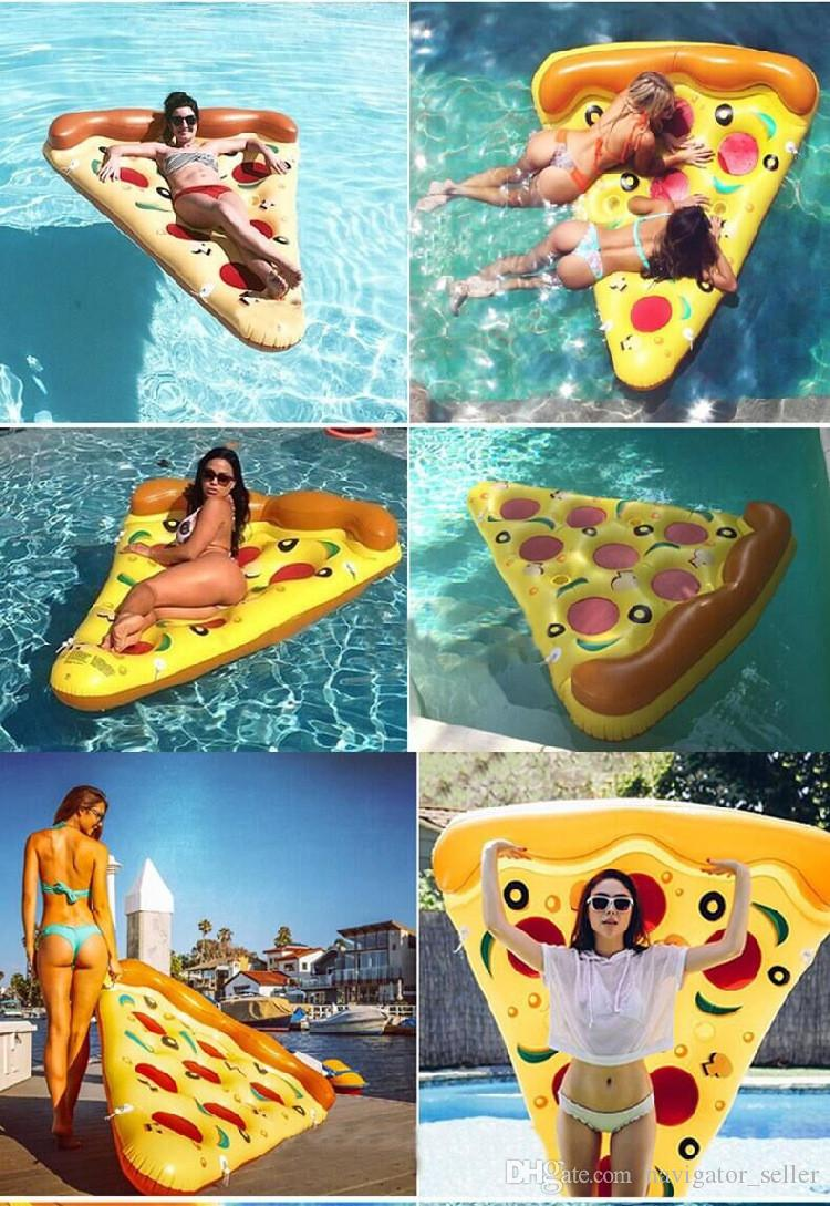 Summer Water Sports Inflatable Floating Tubes Floor Inflatable Swimming Float Air Mattress Swim Pool Beach Yard Pizza Pattern DHL/Fedex
