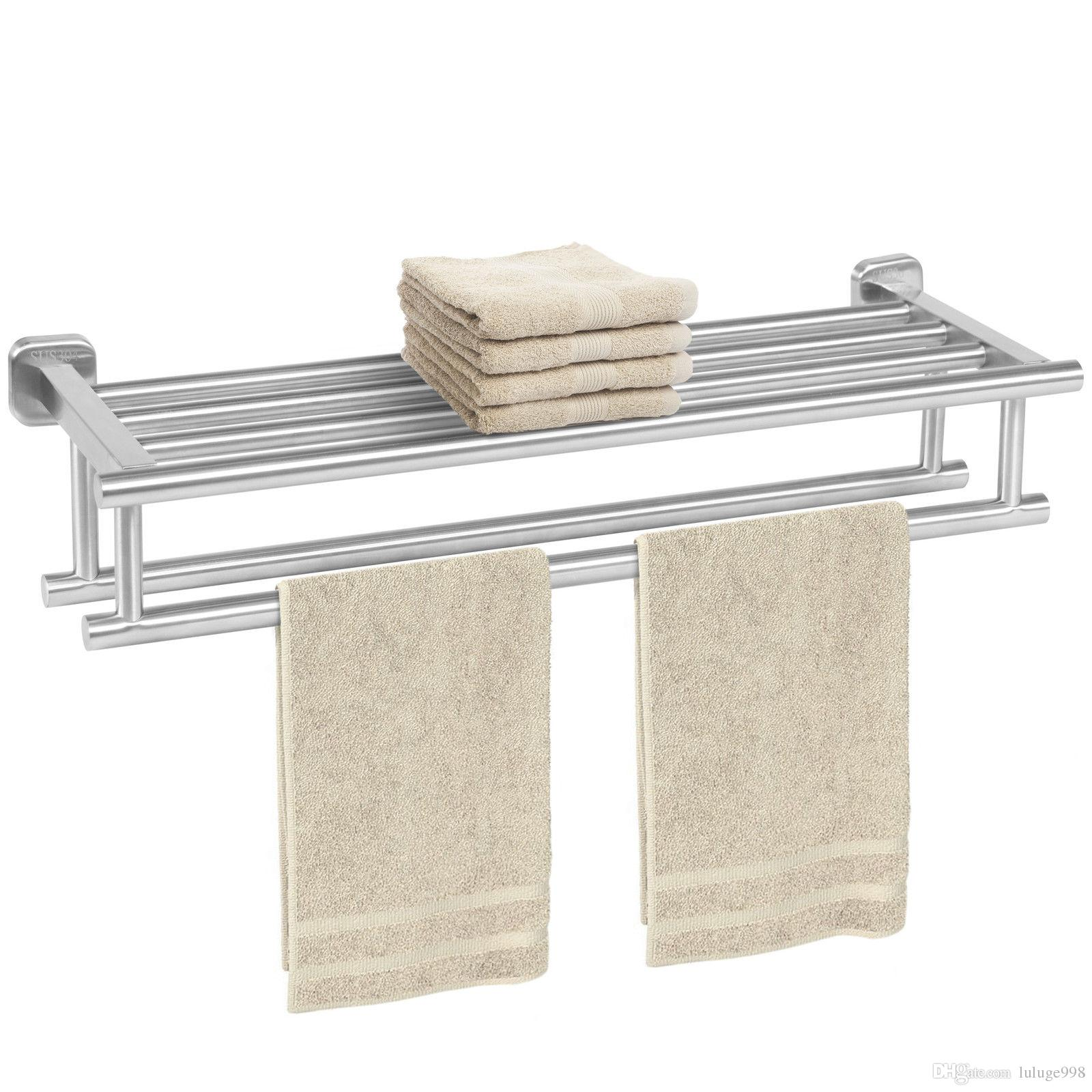Stainless Steel Double Towel Rack Wall Mount Bathroom Shelf Bar Rail
