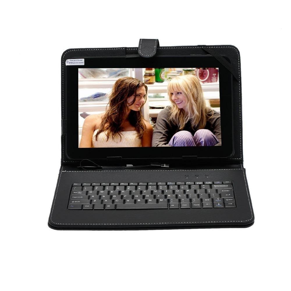 Wholesale- Boda 10.1 inch Android 5.1 Tablet PC, Quad Core Allwinner A64 CPU Dual Cameras with Black Color Standard Keyboard Case Stand