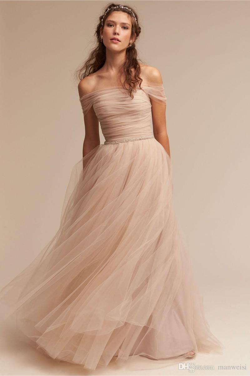 肩から離れた2017 Bhldnの花嫁介添人ドレス安いチュールロングビーズラインジュニアビーチのウェディングドレス