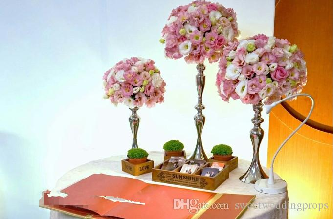 Hot sale tall wedding iron candelabra with flower bowl top for wedding centerpieces decoration