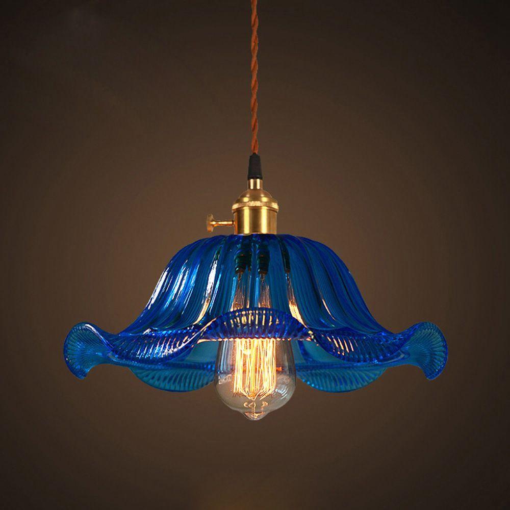 Oovov american color glass flowers pendant lights retro bar cafe dining room pendant lamp corridor balcony pendant light