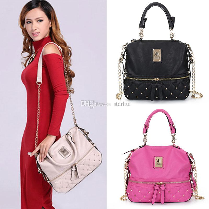 36aefb449d9 2017 Kim Kardashian Kollection Shoulder Bag KK Women Rivet Designer Bag  Handbags Fashion Bucket Gold Chain Messenger Bags WX B28 Fashion Bags  Handbag ...