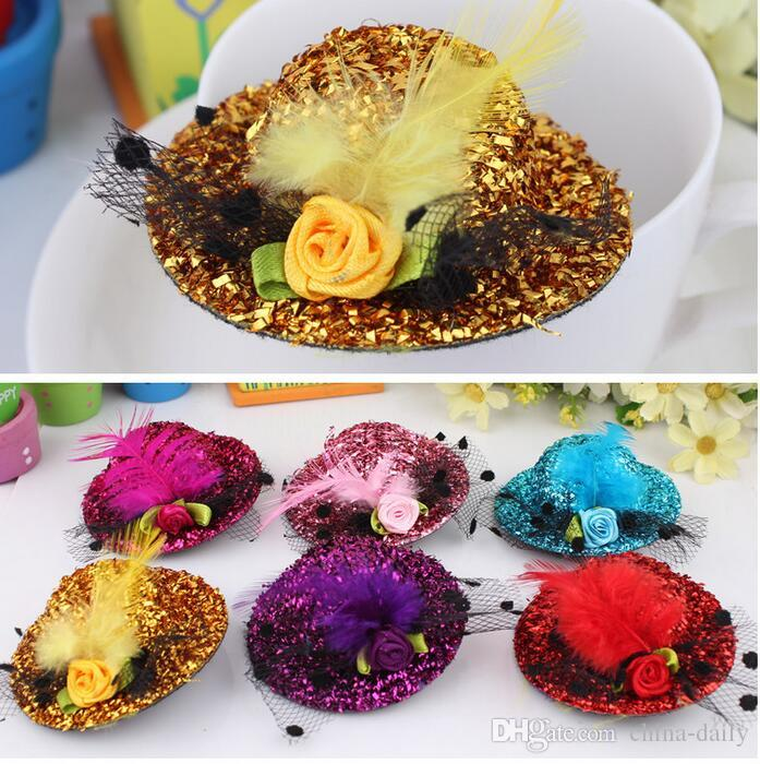 Free Ship 8CM Felt Mini Top Hat Feather Hat Cap Hair Clip Hen Party Lady Veil Popular Wedding homburg millinery Bridal Accessories