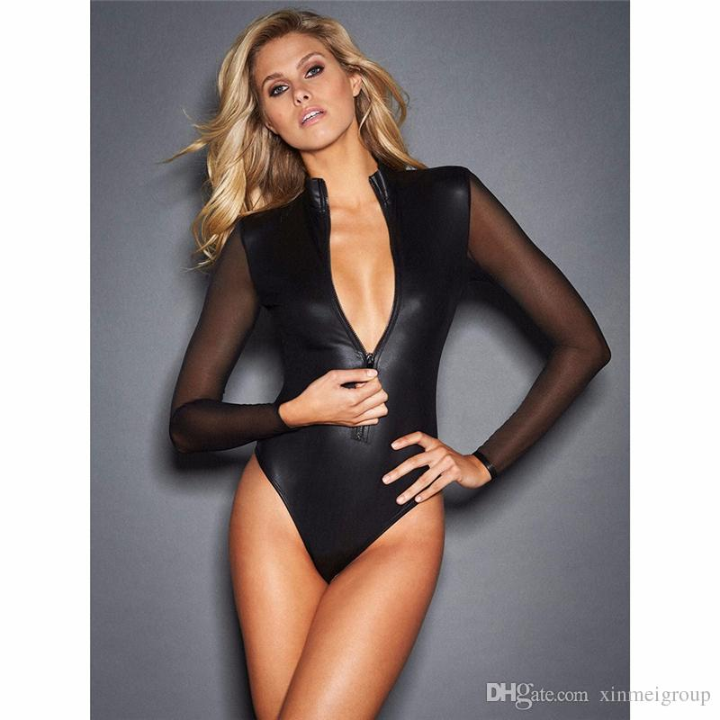 640e83d9e59f 2019 New Plus Size Sexy Black Vinyl Catsuit Lingerie Mesh Long Sleeve Zipper  Front Erotic Leotard Wet Look Faux Leather Bodysuit W861224 From  Xinmeigroup, ...