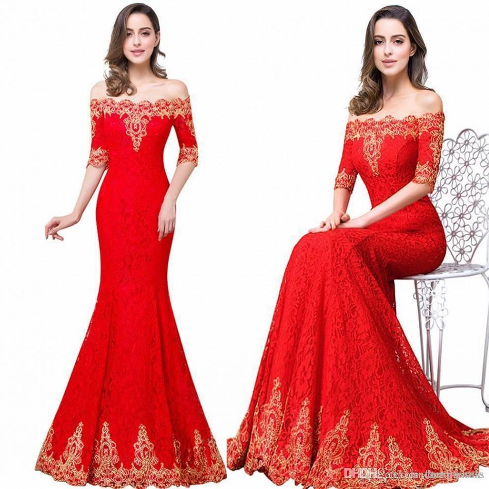 2017 New Red Long Mermaid Bridesmaid Prom Dresses Elegant Off The ...