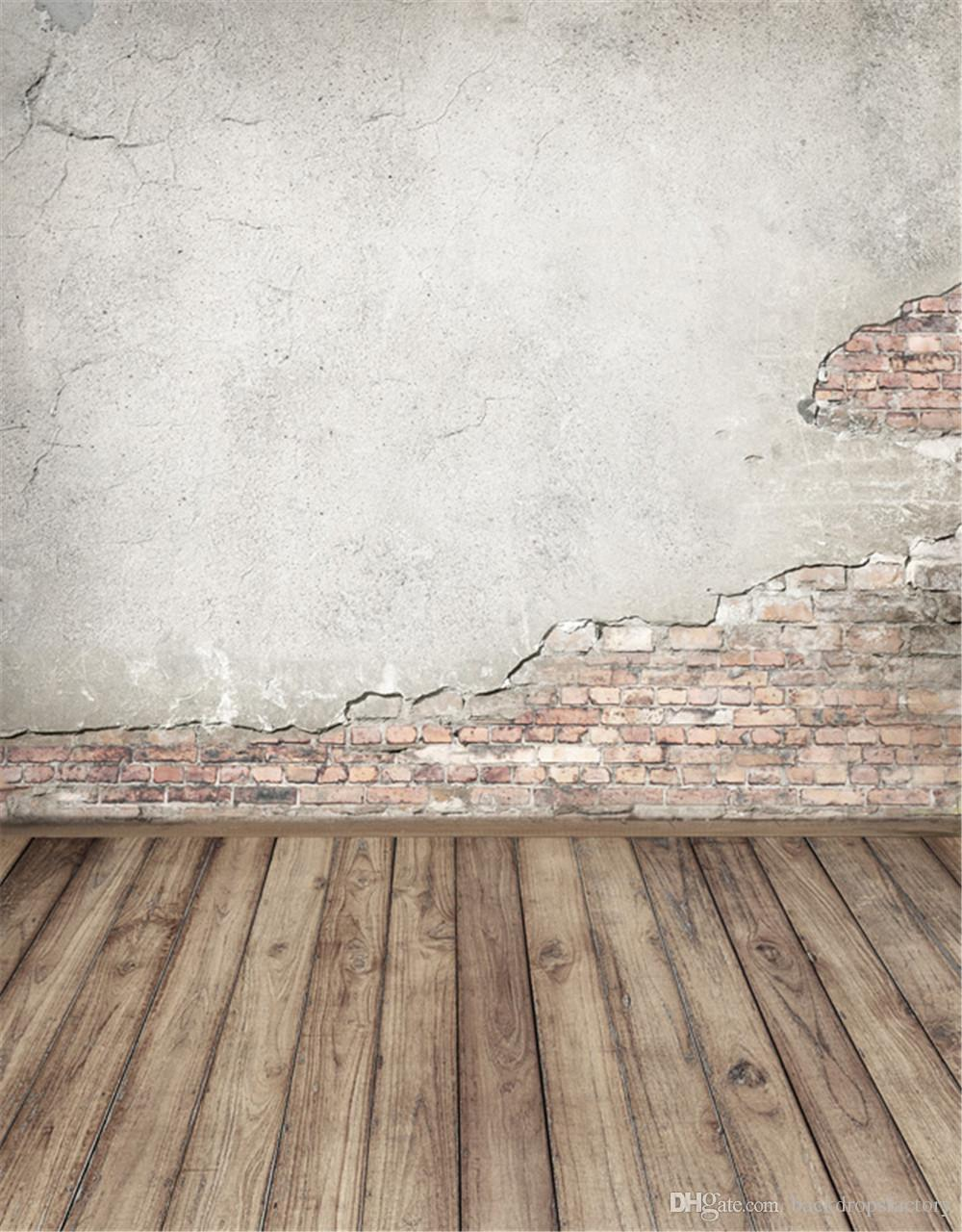 broken brick wall photography backdrops wood planks floor children
