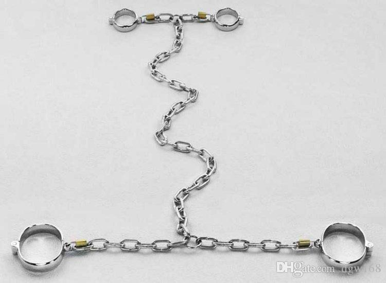 New Oval Padlock Collar Wrist Ankle Cuffs Siamese Stainless Steel Chains Harness Bondage Gear Adult Slave BDSM Set