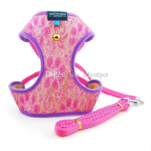 Cute Small Dog Puppy Chihuahua Harness and Walking Leash Leads Set Pink Blue Purple 4 Sizes S-XL