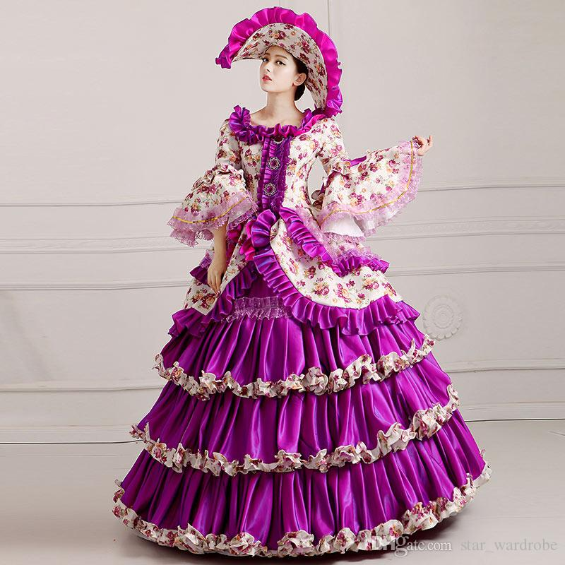 Brand New 2016 Elegant Purple Floral Palace Medieval Period Victorian Dress Retro Marie Antoinette Masquerade Ball Gowns Rococo Costumes