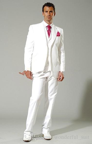 새로운 스타일 화이트 신랑 턱시도 Groomsman 최고의 남자 블레이저 망 웨딩 비즈니스 정장 자켓 + 바지 + 조끼 + 넥타이