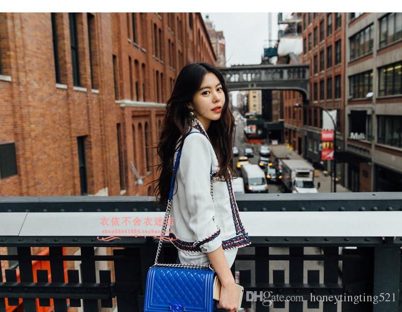 automne printemps femmes travail de design de mode OL patchwork bande tissage manches longues tweed de laine manteau court de Casacos bloc de couleur