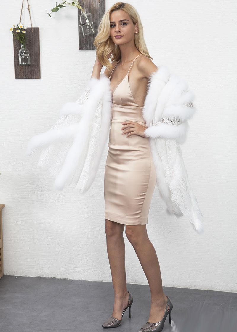 White Black Faux Fur Cape Coat Fashion Lace Fur Patchwork Cloak Elegant Ladies Cocktail Party Shawl Christmas Gift For Her