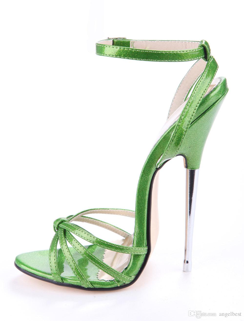 Sexy Design 16cm Steel Stiletto Heels Women Nightclub Dress Sandals Ankle Strap Leather Gladiator Sandals Party Shoes Woman Green Red Pink