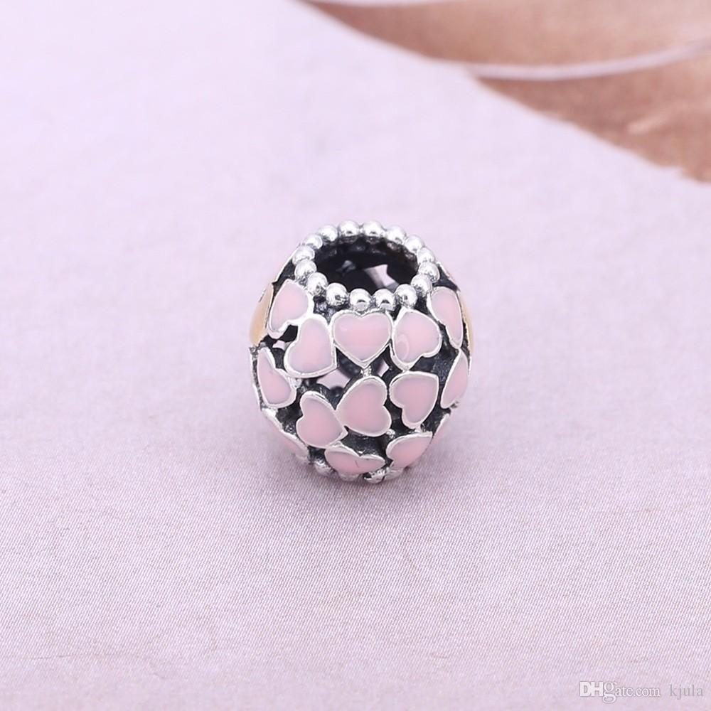 2017 Real 925 Sterling silver jewelry Hollowed out charm Bead with pink enamel flower Fits wrist Chain or Bracelet wedding Diy Jewelry