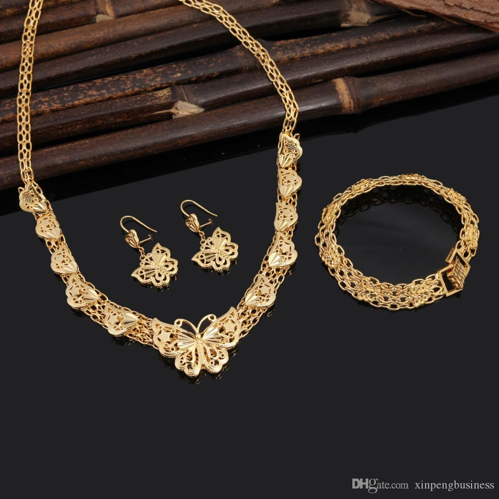 2018 Ethiopian Wedding Jewelry Sets 24k Real Yellow Solid Gold Gf