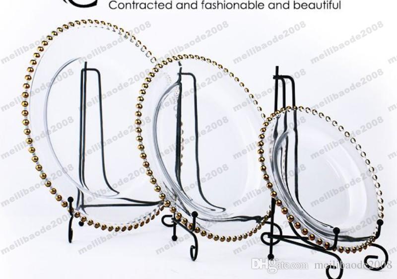 2017 NEUE runde preiswerte Hochzeit cear silbernes Goldglas wulstiges Aufladeeinheit pcs Glasplatte für Hochzeitstabellendekoration FREIES VERSCHIFFEN MYY
