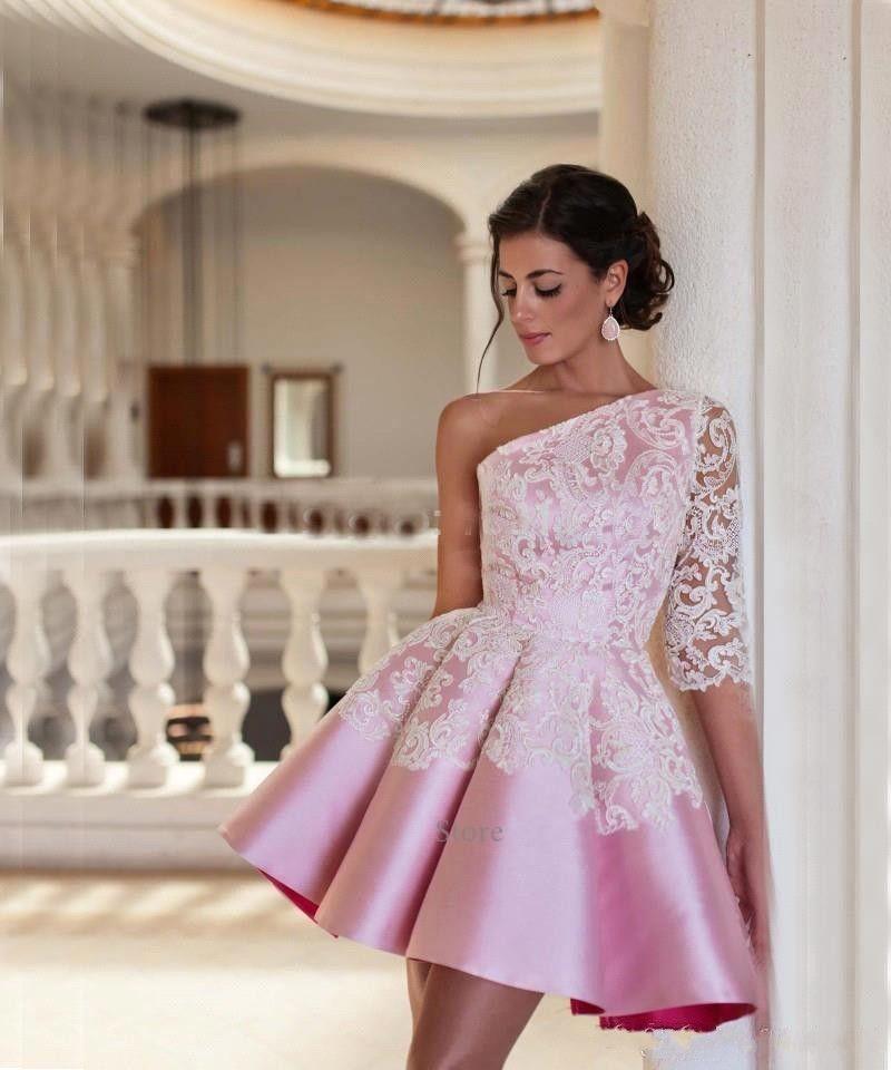 2017 Short Mini Women Cocktail Dresses One Shoulder Pink Satin Lace Applique A Line Pleats Prom Dresses Party Dress Formal Homecoming Gowns
