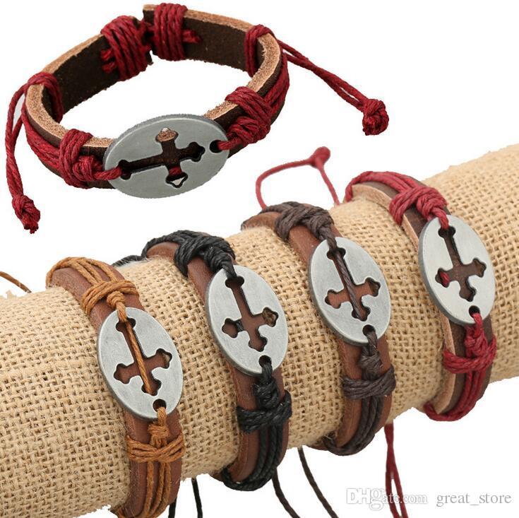 Nova marca de Jóias de Couro Oco Cruz Peito Pulseira De Couro Do Punk FB424 ordem da mistura de 20 peças muito Slap Snap pulseiras