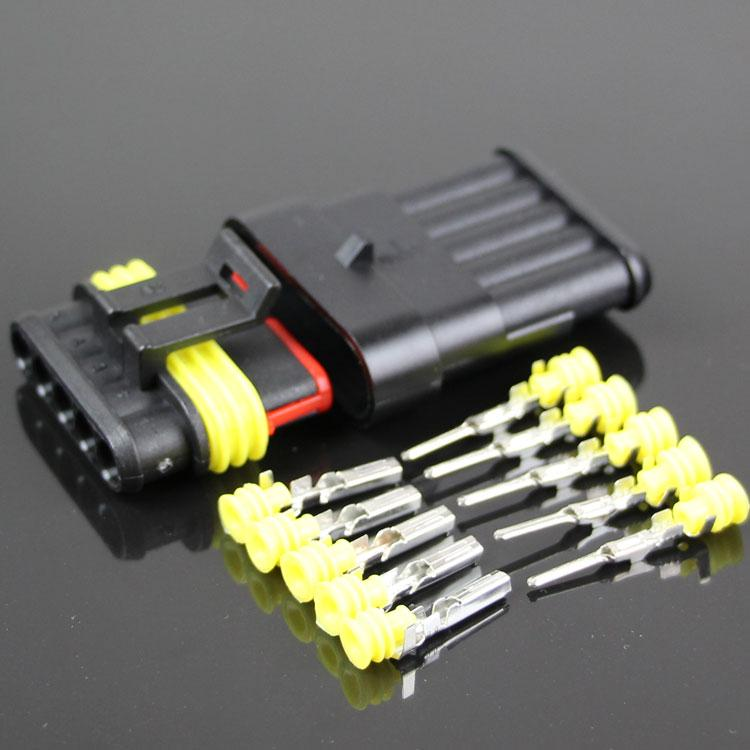 AMP 1.5 STYLE kit 5P car harness connector waterproof connector HX plug socket male and female connector 5 core hole butt plug