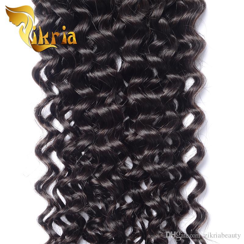 Capelli vergini ricci non trattati dei capelli umani vergini brasiliani Malesi peruviani indiani 4 pacchi Jerry Capelli ricci trame