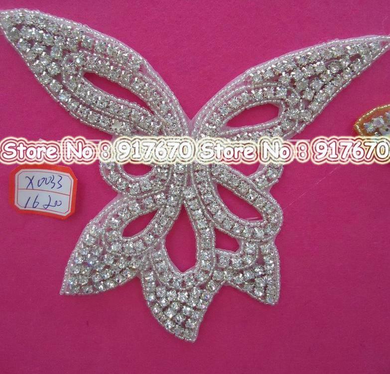 /Luxury & Fashion flower rhinestone trim, Beaded DIY Bridal Seing Craft Lace Applique Trim