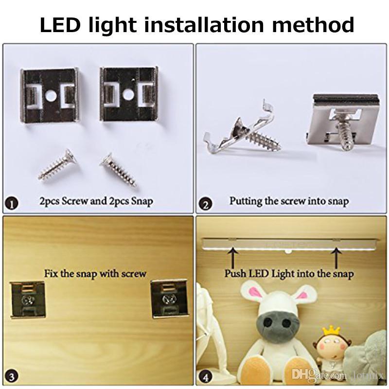 1.6 W 20 LED Escadas Night Light Sem Fio PIR Detecção de Movimento Do Armário Sob O Gabinete LEVOU Bar luz Alimentado Por Bateria 80LM