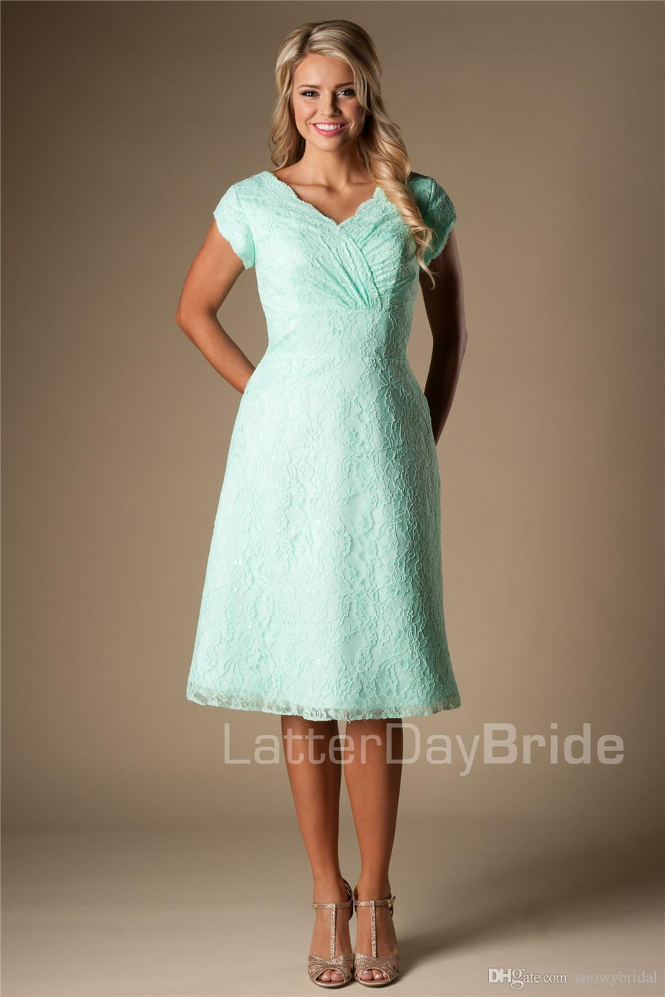 A line mint lace short modest bridesmaid dresses with short a line mint lace short modest bridesmaid dresses with short sleeves v neck knee length vintage wedding party dress bridesmaid robes temple bridesmaid ombrellifo Gallery