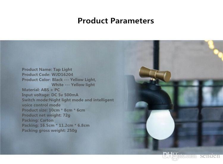Retroiluminación del grifo de agua Luz nocturna Mini sensor de luz Sonido Actived Faucet Lámpara de pared LED Recargable con LED Forma de grifo hogar / exterior Luz de emergencia