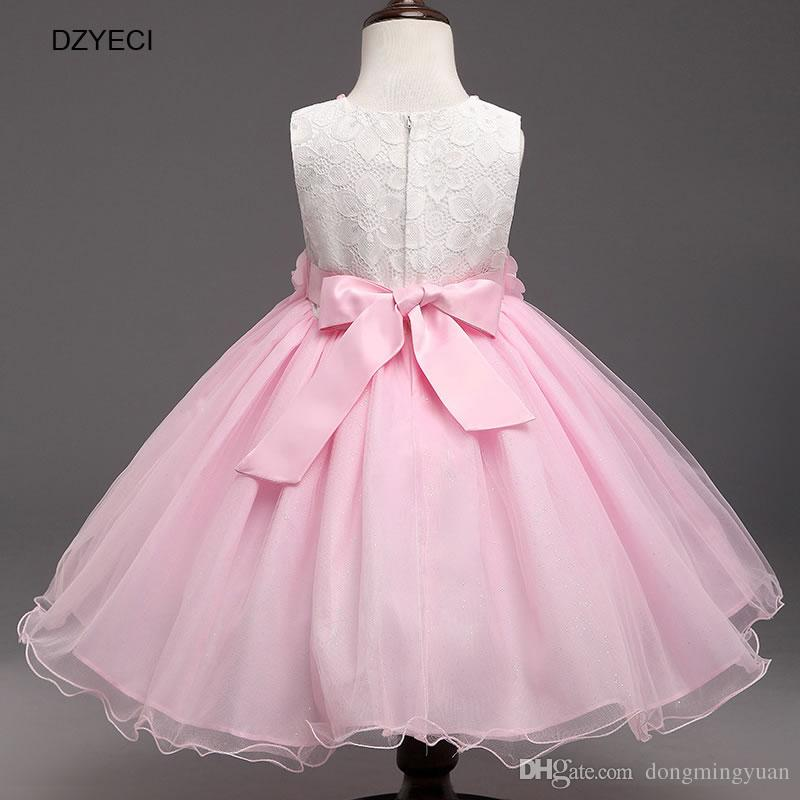 Korean Pearl Floral Dresses For Baby Girl Bow Dress Carnival Costumes Children Ball Gown TUTU Party Clothes Deguisement Kid Bridesmaid