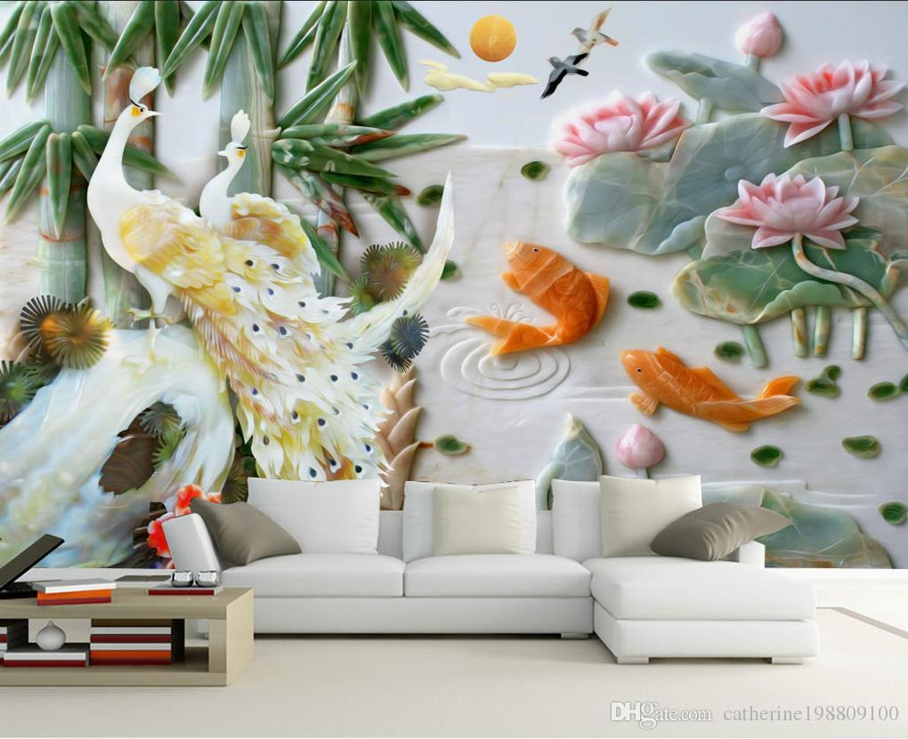 Mural 3d wallpaper 3d wall papers for tv backdrop 3d wallpaper mural 3d wallpaper 3d wall papers for tv backdrop 3d wallpaper custom mural peacock jade carved lotus background wall decoration painting hd a wallpaper hd amipublicfo Choice Image
