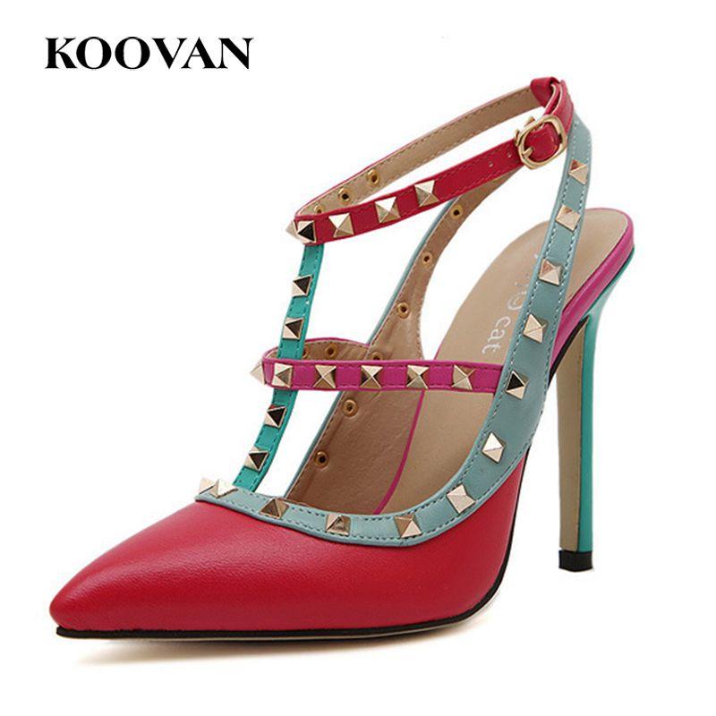 V Chica Mujeres Remaches Zapatos Dobles Boda Tacón Las Puntiagudos De Coloridas Envío Lujo Alto Gratis Bomba Marca Correas rxBoWCed