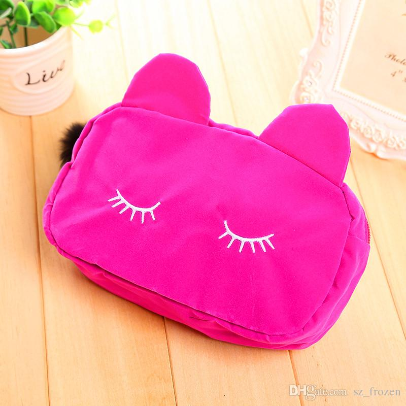 HOT Makeup Cosmetic Bags Cases Portable Cartoon Cat Coin Storage Case Travel Makeup Flannel Pouch Cosmetic Bag