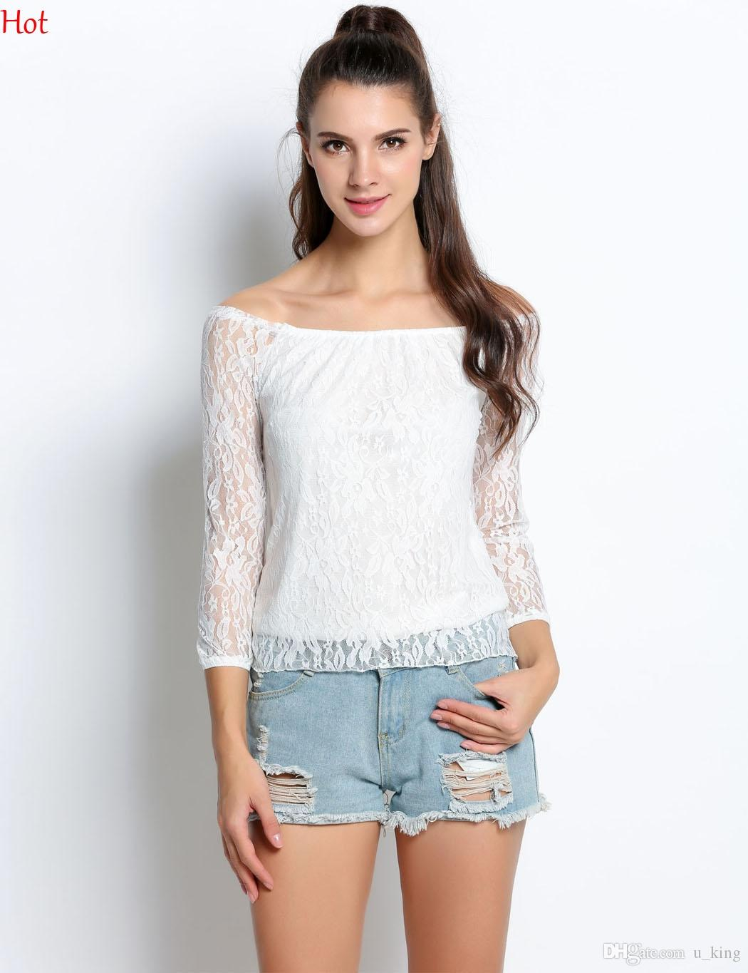 f4deefa49cc 2019 Hot Off Shoulder White Blouse Lace 3/4 Sleeve Spring Women Tops New  Fashion Korean Crochet Hollow Out Ladies Shirt Party Blouses SV001984 From  U_king, ...